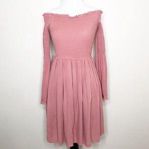 Sage Dusty Rose Off The Shoulder Long Sleeve Dress